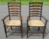 Pair Ladderback Carver Armchairs